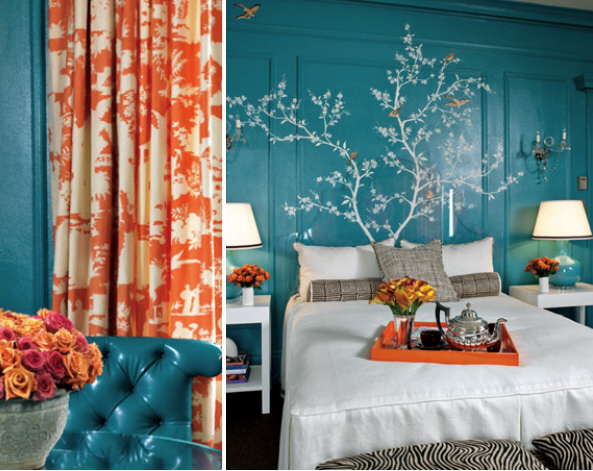 Turquoise-and-coral-bedroom-suite - Kate Byer Interior Design