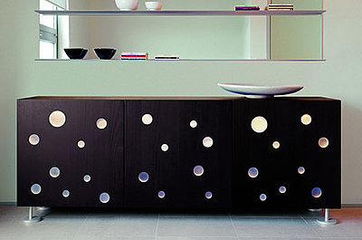 Polka dot furniture credenza kate byer interior design for Dots design apartment 8