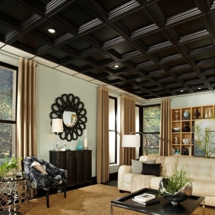 Black coffered ceiling