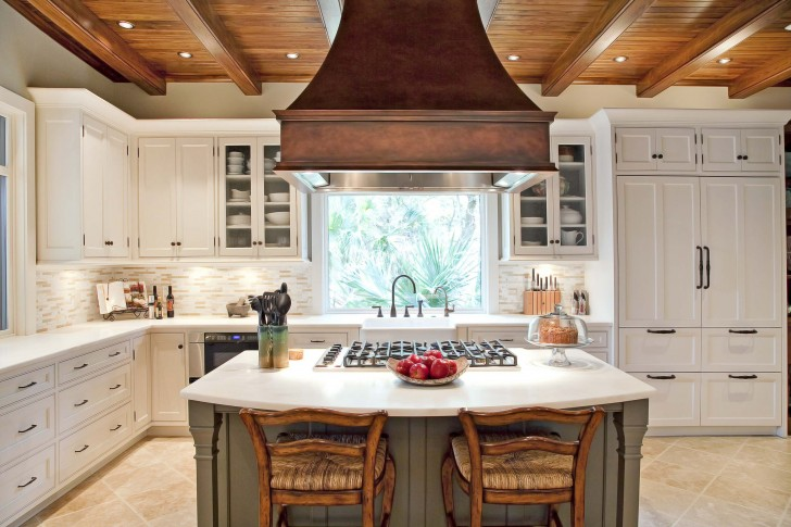 apron-front-sink-and-copper-range-hoods-also-glass-front-cabinets-in-integrated-kitchen-plus-rush-seats-with-tile-backsplash-and-tile-flooring-also-wood-beams-on-wood-ceiling-72