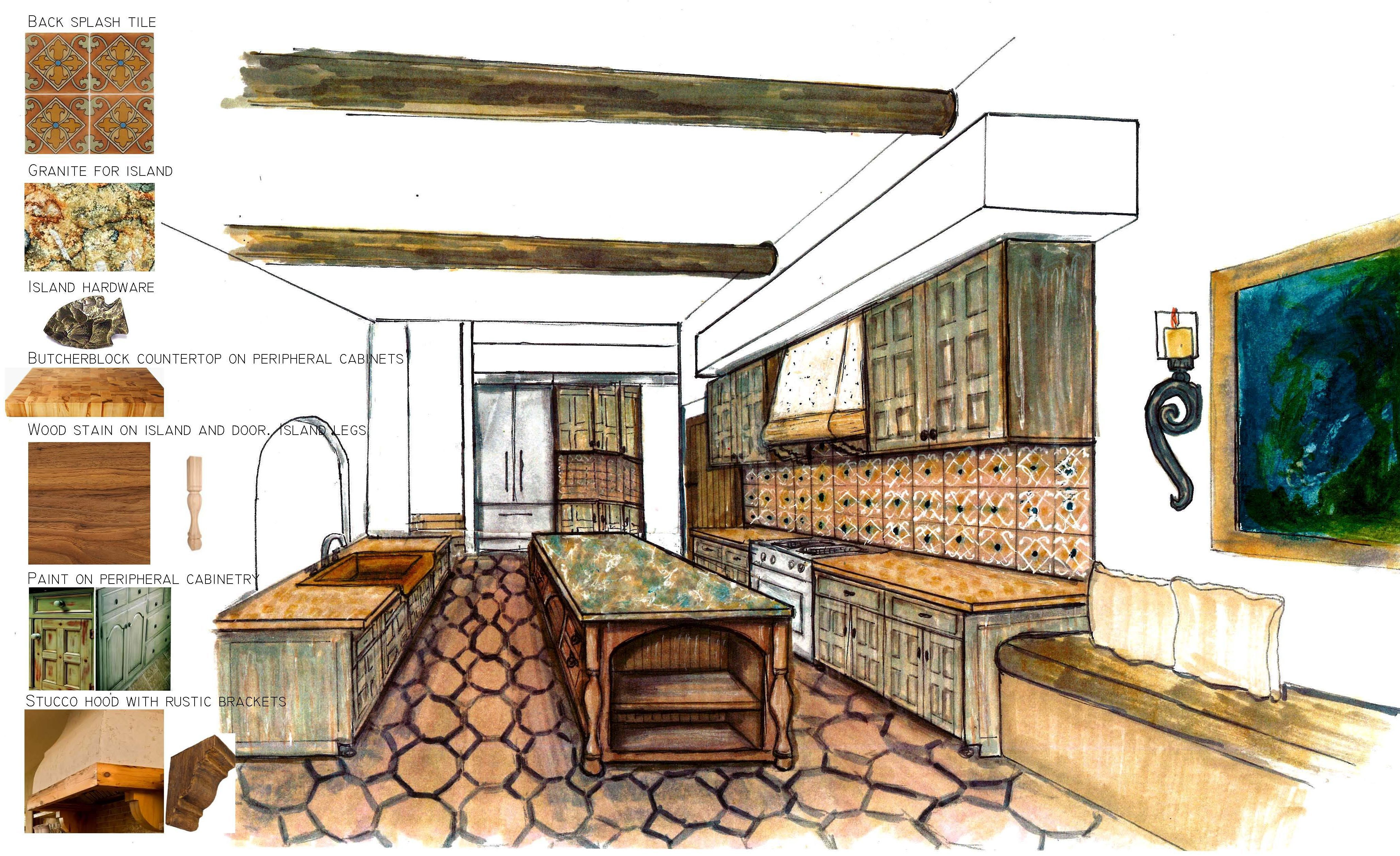spanish kitchen, painted cabinets, south west kitchen
