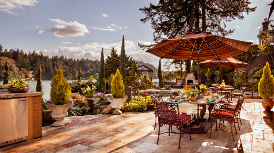 outdoor pool design, outdoor dining, lake living,