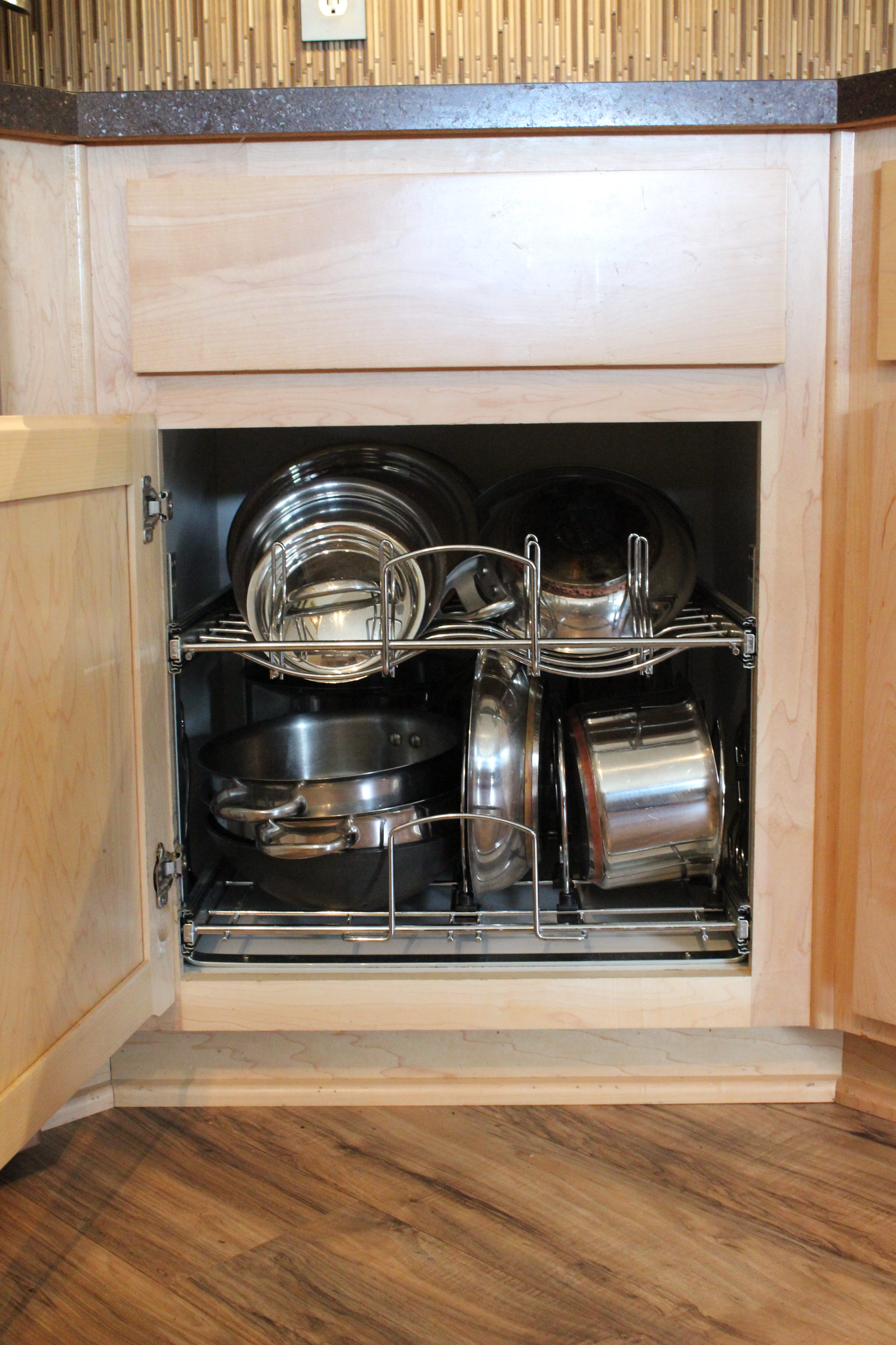 kitchen storage, cookware pull-out, pots and pans storage